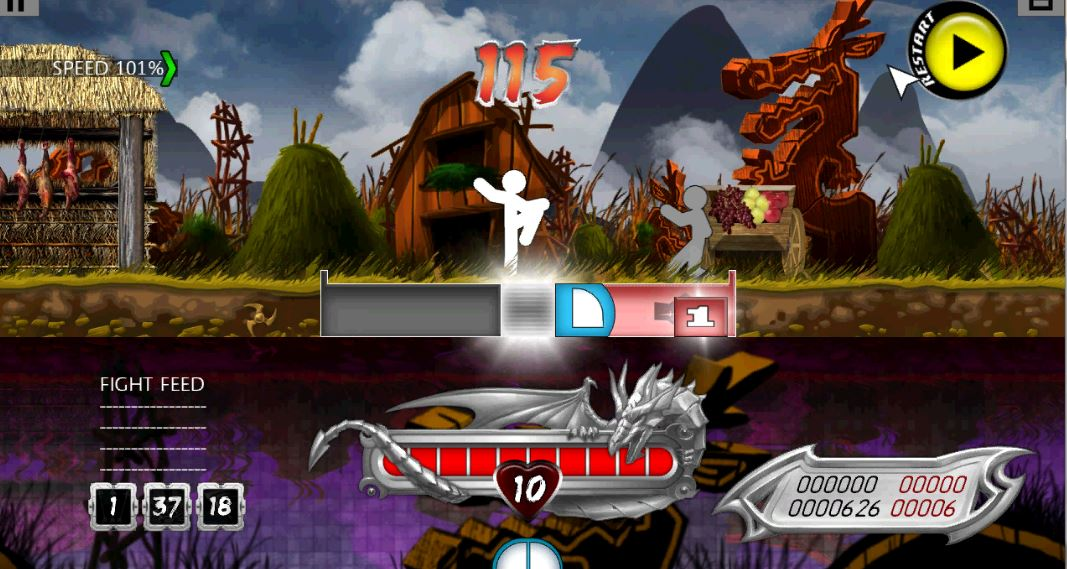 Speed (Top Left), Fight Feed (Bottom Left), Health (Bottom Middle), High Score (Bottom Right), Zone (Middle)