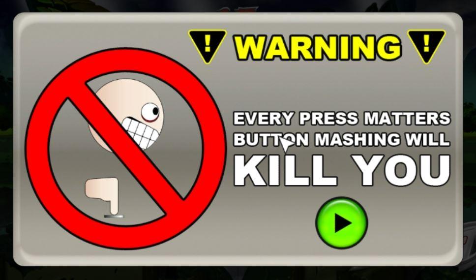 In game warning against button mashing.