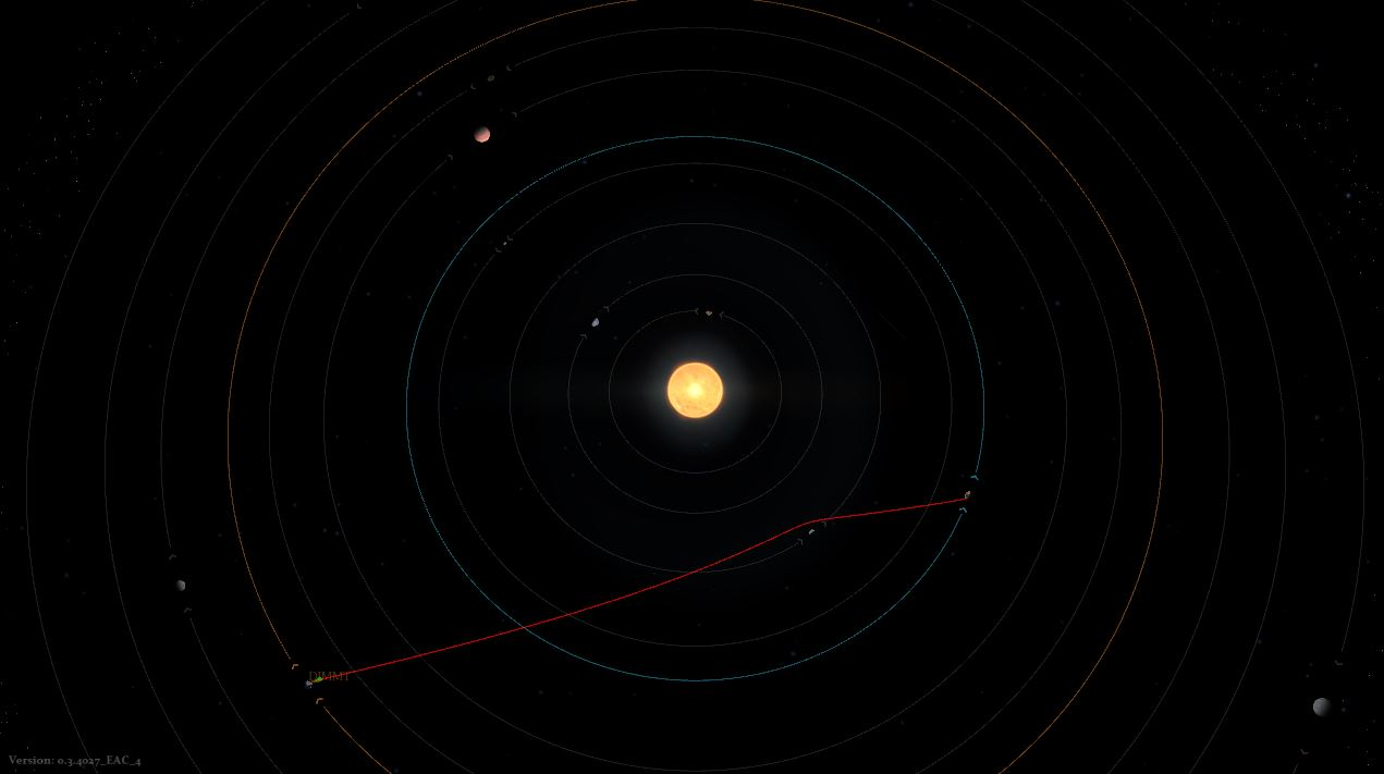 Red line indicates proposed trajectory of attack with gravitational estimates.