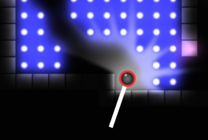 Red circle indicates Fling Mode. White line indicates fling power.