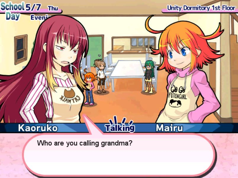 Classic JRPG style text boxes for dialog.