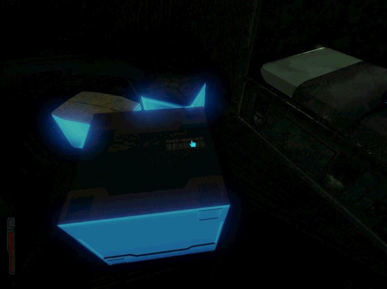 Interactive items shine blue.